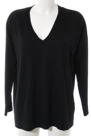 Hugo Boss V-Ausschnitt-Pullover schwarz Casual-Look