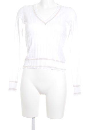 Hugo Boss V-Ausschnitt-Pullover weiß-beige Casual-Look