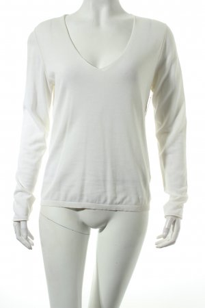 Hugo Boss V-Ausschnitt-Pullover wollweiß klassischer Stil