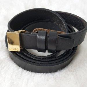 HUGO Hugo Boss Cintura di pelle nero-oro