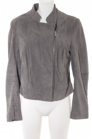 HUGO Hugo Boss Lederjacke grau Casual-Look