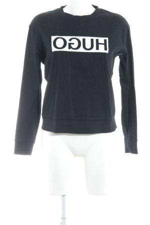 HUGO Hugo Boss Rundhalspullover schwarz-weiß Schriftzug gedruckt Casual-Look
