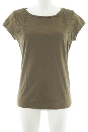HUGO Hugo Boss T-Shirt olivgrün Lochstrickmuster Casual-Look