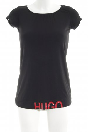 HUGO Hugo Boss T-Shirt schwarz-rot Allover-Druck Casual-Look