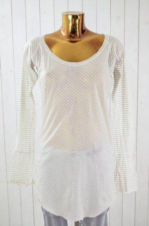 HUMANOID Damen Shirt Rundhals Langarm Longshirt Beige Weiß Gestreift Baumwolle L