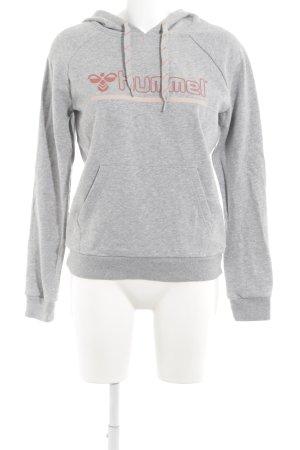 Hummel Capuchon sweater lichtgrijs gedrukte letters casual uitstraling