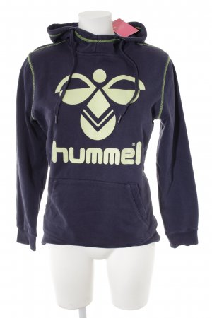 Hummel Kapuzensweatshirt dunkelblau-blassgrün Motivdruck Casual-Look