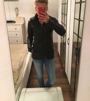 Hummel Lederjacke schwarz mit Strickkragen Gr. S