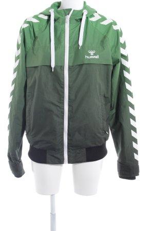 Hummel Sportjacke grün-schwarz platzierter Druck sportlicher Stil