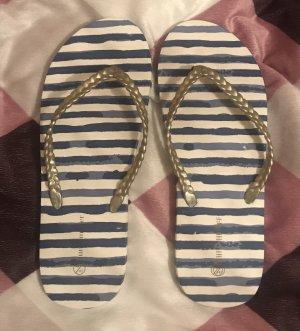 Hunkemöller Flip Flops Zehentrenner Schuhe blau weiß gestreift 41 neu