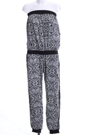 Hunkemöller Jumpsuit schwarz-weiß grafisches Muster Casual-Look