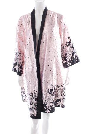 Hunkemöller Kimono hellrosa-schwarz florales Muster Lingerie-Look
