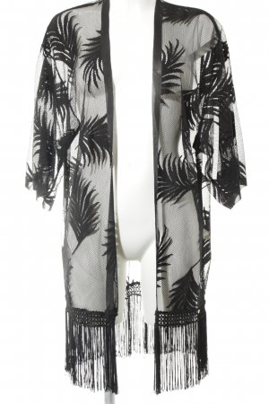 Hunkemöller Kimono zwart losjes gebreid patroon transparante uitstraling