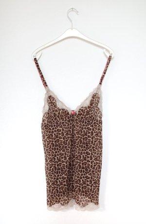 Hunkemöller Nachthemd Negligé Leopard Gr. 36/38 mit Spitze Vintage Stil
