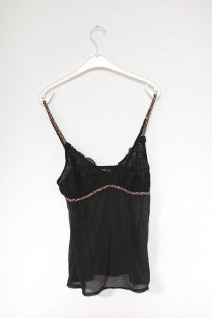 Hunkemöller Nachthemd Negligé Schwarz Leo Gr. 36/38 mit Spitze Vintage Stil