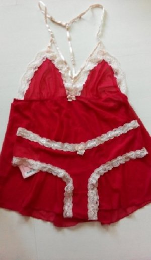 Hunkemöller Négligé rouge-blanc cassé