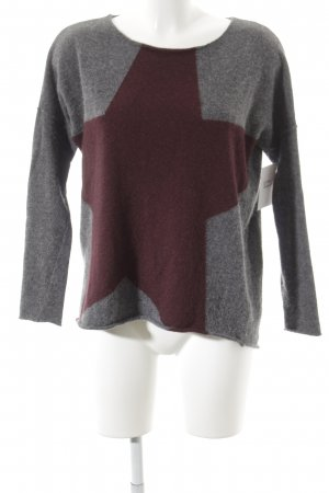 Hunkydory Rundhalspullover grau-bordeauxrot Sternenmuster Street-Fashion-Look