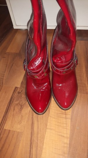 HUNTER Exclusive  Lederstiefel im angesagten Style. Lackleder, Rot, Gr. 39