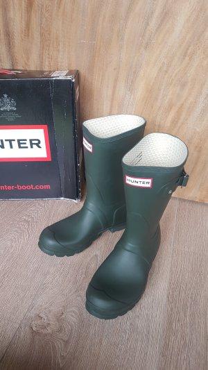 HUNTER gummistiefel rubber boots short dark olive gr.37 uk4 neu