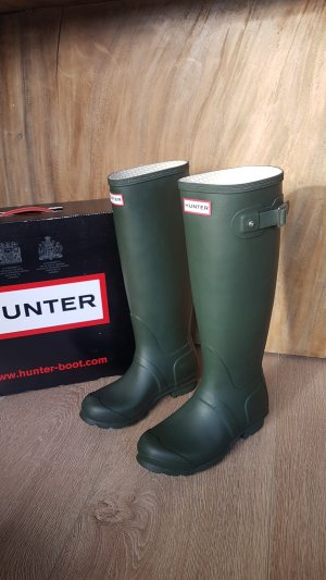HUNTER gummistiefel rubber boots tall dark olive gr.36 neu
