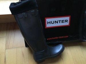 Hunter Gummistiefel tall Gr. 6 / 39 grau Metallic nie getragen mit Stulpen