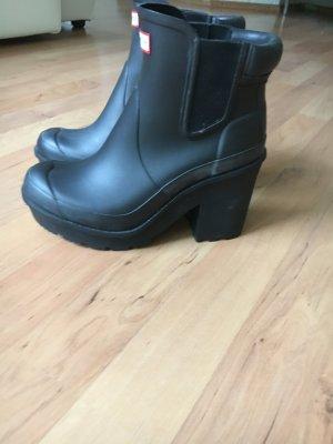 Hunter Stiefeletten schwarz Block Heel Chelsea Boot Gr 37