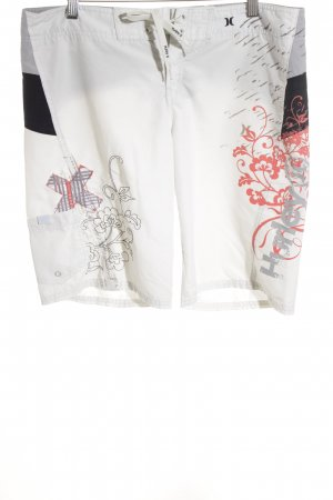 Hurley Trackies natural white-red floral pattern beach look