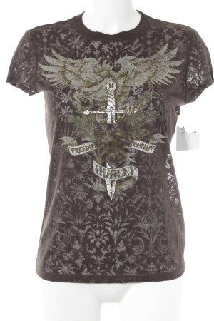 Hurley T-Shirt dunkelbraun-hellbraun Motivdruck Punk-Look
