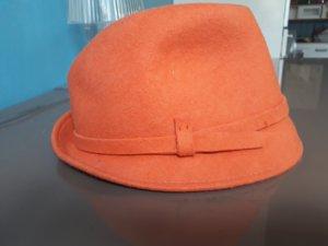Chapeau en laine beige-orange fluo laine
