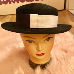 Vilten hoed wit-zwart
