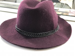 Cappello a falde larghe bordeaux-viola