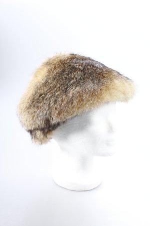 Hut hellbeige-schwarzbraun meliert Kuschel-Optik