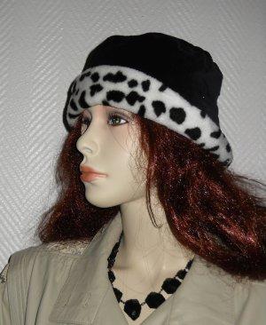Sombrero de piel negro-blanco Algodón