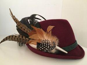 Folkloristische hoed donkerrood Wol