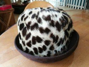 Cappello bianco-marrone