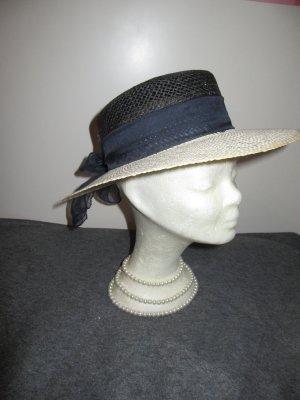 Vintage Chapeau de soleil noir-crème