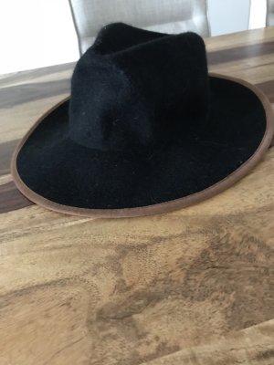Cappello in feltro nero-marrone