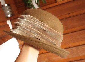 Vintage Wollen hoed beige Gemengd weefsel