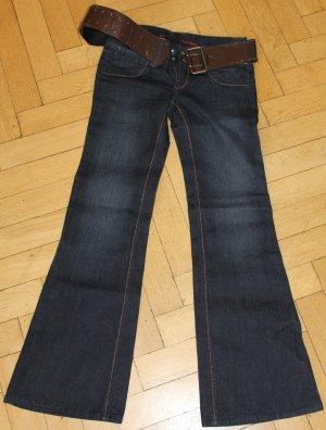 HWY Jeans FIT&FLARE Denim Gr. 7 W28 mit Gürtel Bellbottom Schlaghose NEU Hippie