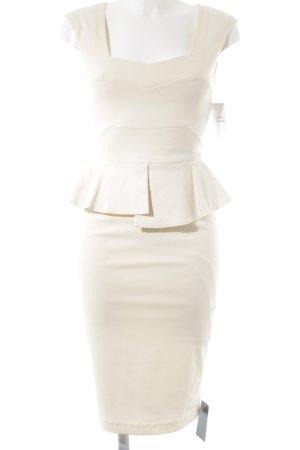 Hybrid Robe péplum crème-blanc élégant