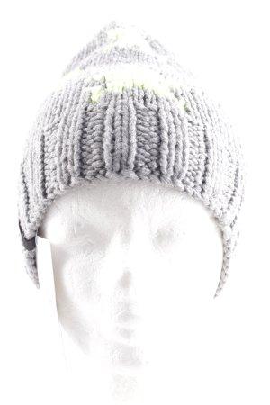 Hype Chapeau en tricot gris clair-jaune fluo Motif d'étoiles