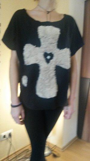 HYPE STYLER T-Shirt Top Kreuz Herz Schwarz Größe: M Neupreis: 44,90€