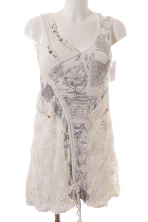 Hypnosy Trägerkleid weiß-grau Motivdruck Materialmix-Look