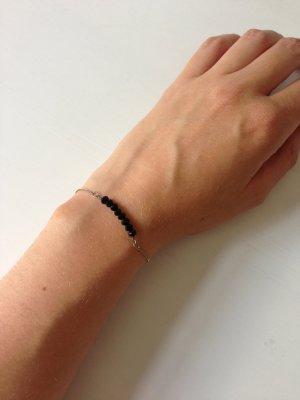 I Am Armband mit schwarzen Perlen