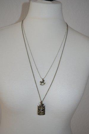 I AM Doppelkette silber/altgold mit Schaukelpferd und Karussell
