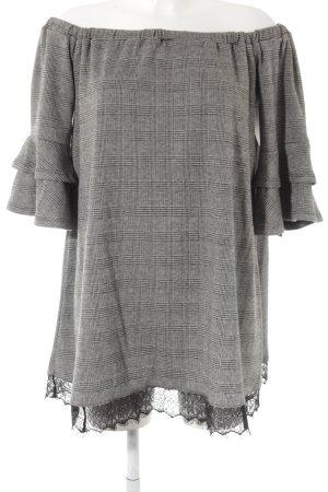 I am Robe épaules nues gris-noir motif à carreaux style mode des rues