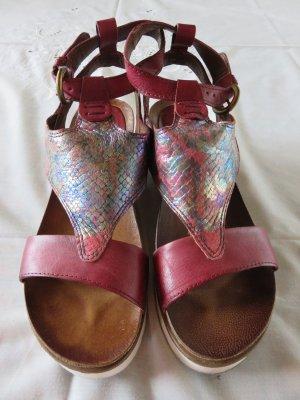 Sandales à lanière bordeau cuir