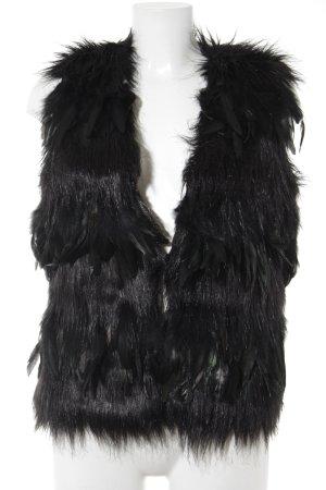 Ibana Smanicato di pelliccia nero-cachi stile stravagante