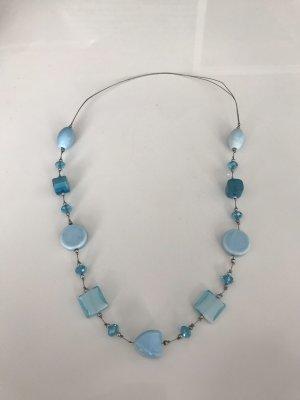 Ibiza  Halskette in silber Optik mit Himmel blau Muster