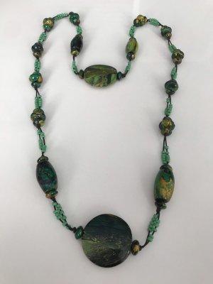 Ibiza handgefertigte lange Halskette aus Holz in grün -Türkis Farbe